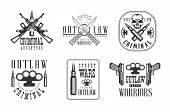 Set Of Black And White Emblems Related To Ghetto Theme. Street Warriors. Outlaw Life. Stylish Labels poster