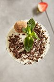 Chocolate Truffle Panna Cotta with Chocolate Flakes and Strawberry. Yummy Dessert Pannacotta in Eleg poster