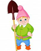 Illustration of cute Garden Gnome with shovel