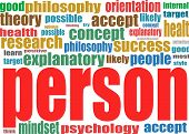 Person. Word Collage Background. Association Terms.