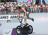 MOSCOW, RUSSIA - JULY 8: Boris Galas, Russia, in BMX competitions during Adrenalin Games in Moscow,