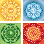 Bright Abstract Circle Backgrounds, Mandalas Of Different Chakras, Vector