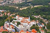 Magnificent resort of Sintra in vicinities of Lisbon, photographed from walls of a Mauritian fortress