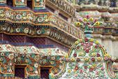 thai religious ceramic ornament in wat phra kaeo temple, Bangkok, Thailand