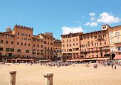 Piazza del Campo, the place of Palio horse race, Sienna, Italy