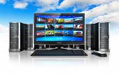 stock photo of mainframe  - Cloud computing and telecommunication concept - JPG