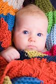 picture of cute baby  - Portrait of three month old baby girl with big blue eyes - JPG