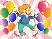 Illustration of a boy jumping with balloons at his side
