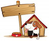 Illustration of a signage beside a doghouse on a white background