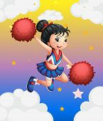 Ilustration of a pretty cheerleader with her red pompoms