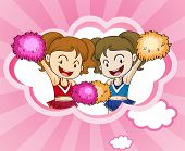 Illustration of the two cheerdancers with pink and orange pompoms