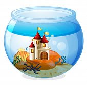 Illustration of an aquarium with a castle on a white background