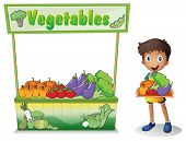 Illustration of a boy selling vegetables on a white background