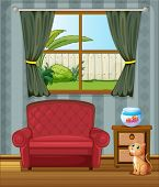 Illustration of a cat looking at the fish inside the house