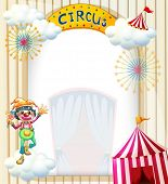 Illustration of a clown in the circus on a white background