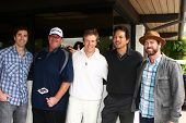 LOS ANGELES - APR 15:  Zach Jones, Brian Baumgartner, Jack Wagner, Benjamin Bratt, Guest at the Jack Wagner Celebrity Golf Tournament  at the Lakeside Golf Club on April 15, 2013 in Toluca Lake, CA