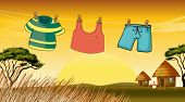 foto of chicken-wire  - Illustration of the clothes hanging in the wire - JPG