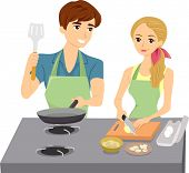 Illustration of Couple Cooking wearing Matching Aprons