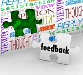 The word Feedback on a puzzle piece filling a hole in a wall with words like opinion, satisfaction,