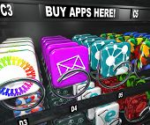 A vending machine with the words Buy Apps Here and many app tiles and icons ready to be bought and d