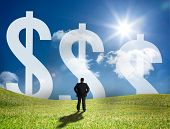 Businessman looking at three large dollar signs on the horizon and standing in a sunny field
