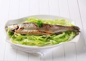 baked trout in a lettuce nest