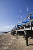 Boats In Winter Storage On Southend Beach, Essex, England