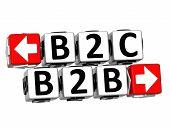 3D B2B B2C Button Click Here Block Text