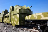powerful armored train against the blue sky