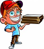 Cartoon of cute Pizza delivery boy.