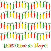 "stock photo of jalapeno peppers  - ""Feliz Cinco de Mayo"" (Happy 5th of May) card in vector format. - JPG"