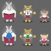 Cartoon character Rhino, Tiger, and Tarsius