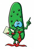 Funny Cartoon Cucumber Is An Office Worker