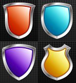 Set of 4 Silver Framed Shields