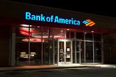 JACKSONVILLE, FL - MAR 30: A Bank of America branch bank at night located in Jacksonville, Florida o