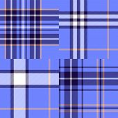 Abstract geometric tartan fabric seamless pattern in blue, vector