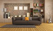 pic of niche  - Brown sofa in a vintage living room  - JPG