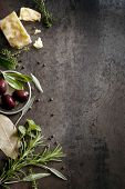 stock photo of peppercorns  - Food background with parmesan cheese - JPG