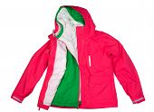 stock photo of bomber jacket  - Dual sports jacket pink and green warm - JPG