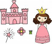 stock photo of cute little girl  - Princes castle and elements - JPG