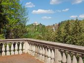 stock photo of turin  - Church of Monte Dei Cappuccini Turin Italy seen from a terrace on river po - JPG