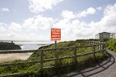 Cliff Edge Please Keep To Footpath Sign