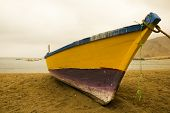 stock photo of fleet  - Traditional fishing boats Pacific Coast of Chile - JPG