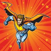 Generic superhero figure running/flying forward at a fast pace.  Layered & easy to edit. See portfolio for simular images.