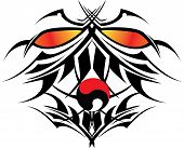 pic of shogun  - Vector illustration devil with weapontattoo and crossed - JPG