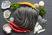 Italian cuisine - Fettuccine al nero di seppia in cuisine