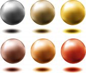Set Of Different Metallic Spheres