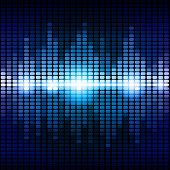 stock photo of fluorescent light  - Blue and purple digital equalizer background - JPG