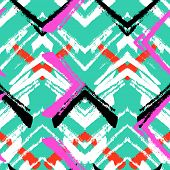 foto of zigzag  - Multicolor hand drawn pattern with brushed zigzag line - JPG