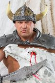 foto of dragon head  - A muscular man in costume viking with a sword and dragon head - JPG